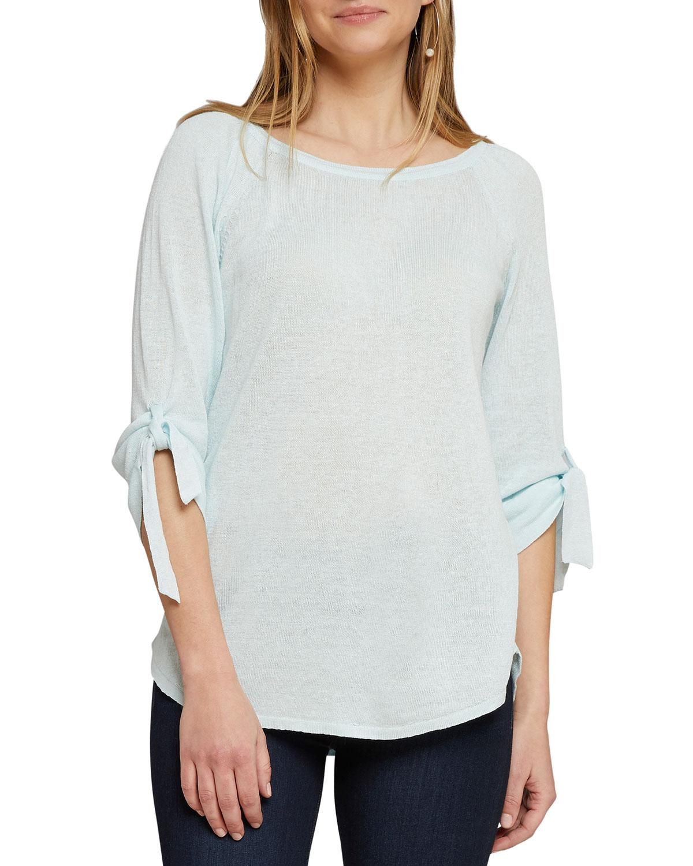 Nic+zoe Sweaters PETITE CASUAL FRIDAY BOAT-NECK TIE-CUFF SWEATER