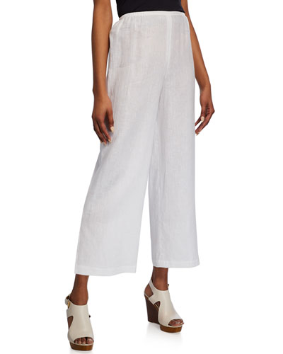 Plus Size Tissue Linen Pull-On Ankle Pants