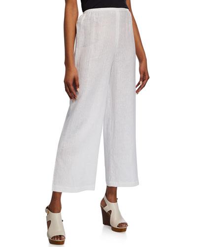 Petite Tissue Linen Ankle Pants