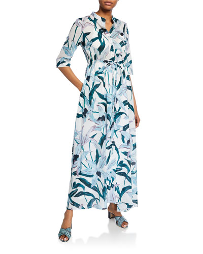 Printed 3/4-Sleeve Long Shirt Dress