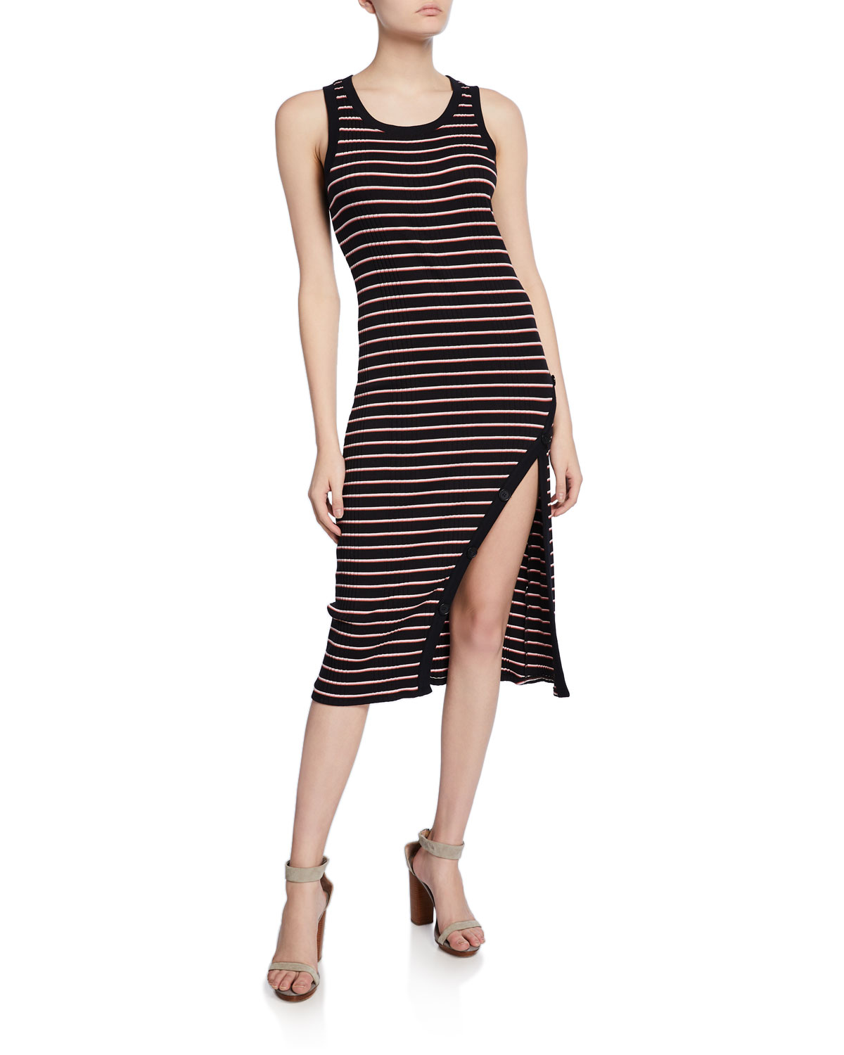 Joie Dresses POLYMELA STRIPED TANK DRESS WITH BUTTONS