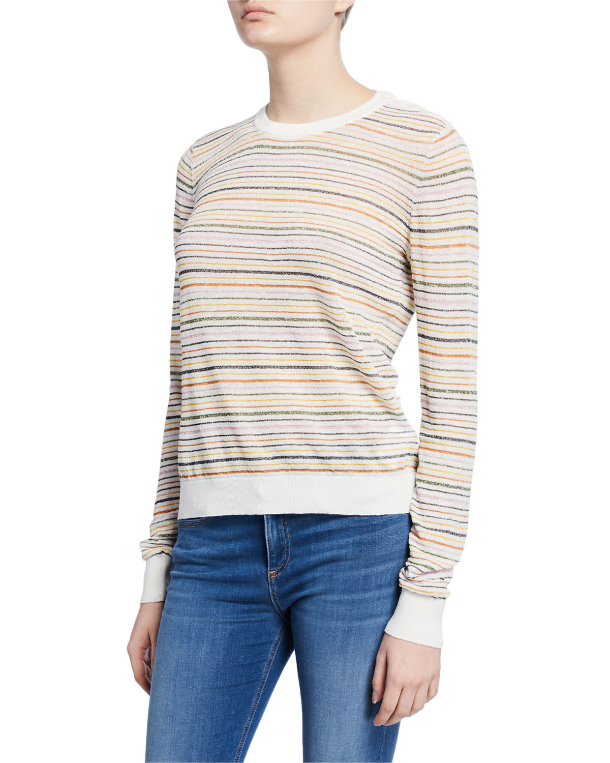 Joie Sweaters ADE STRIPED LINEN PULLOVER SWEATER