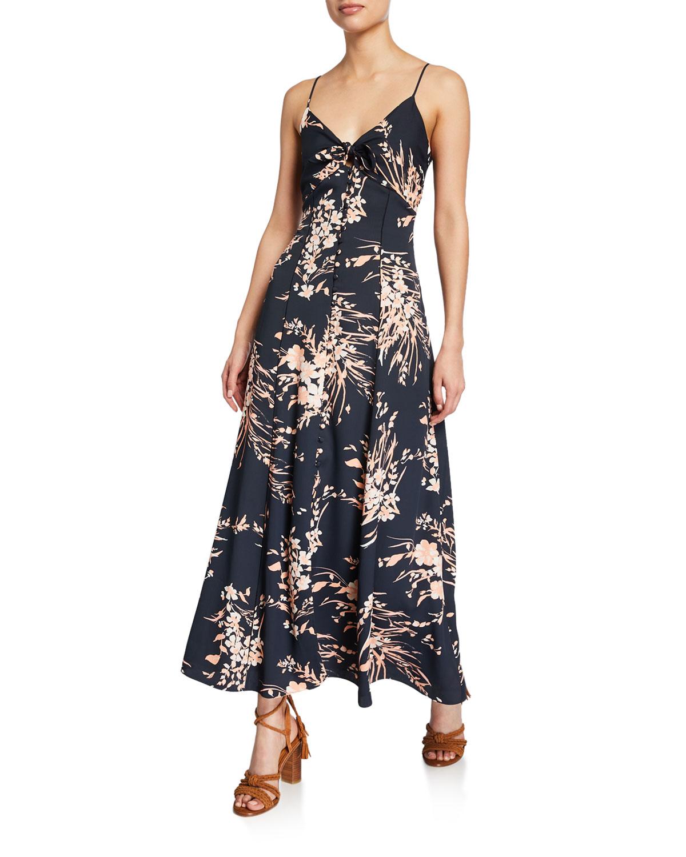 Joie Dresses ALMONA FLORAL-PRINT SPAGHETTI-STRAP DRESS