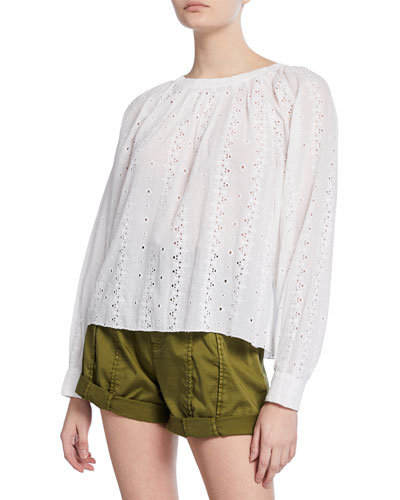 Holdena Eyelet Tie-Back Top