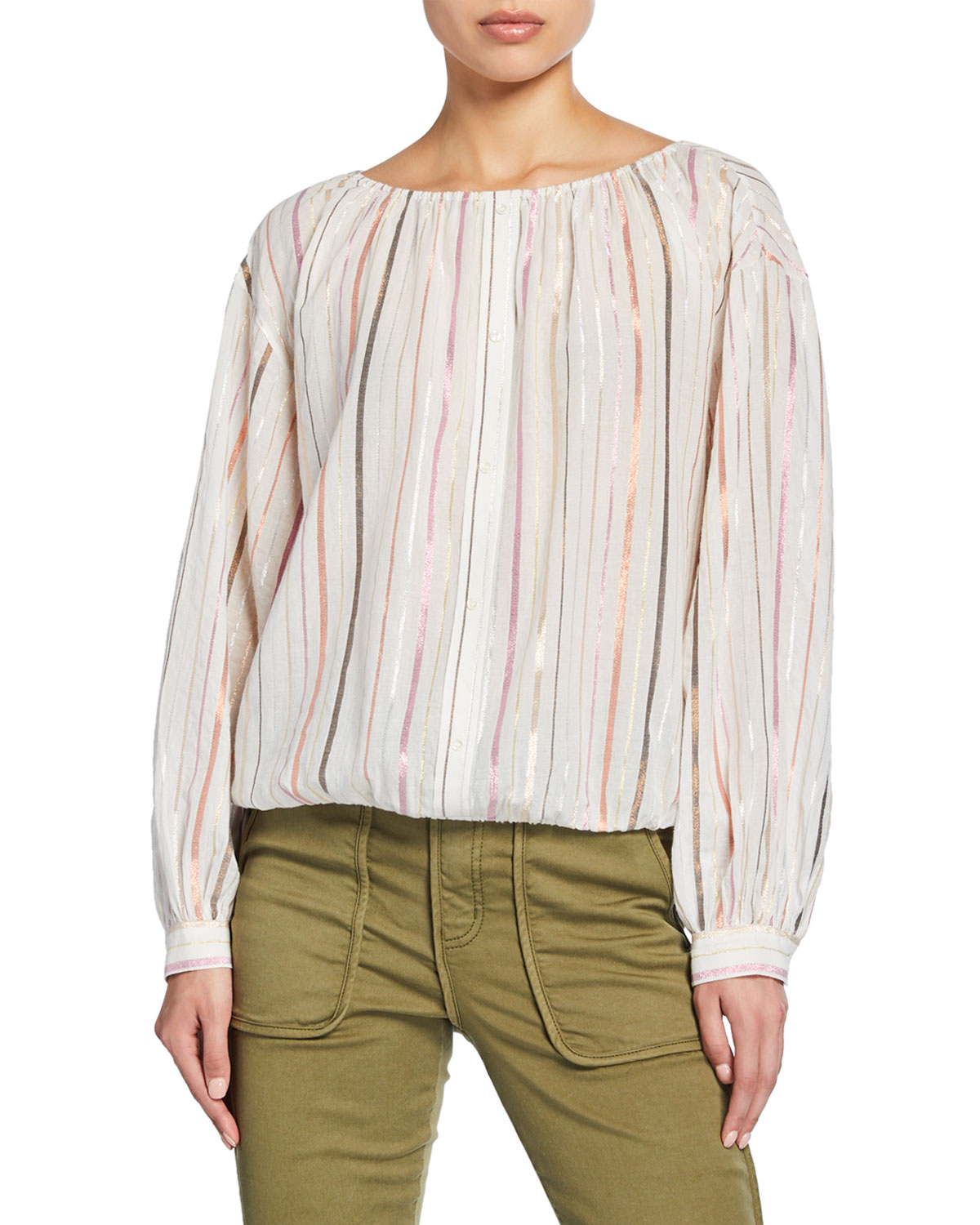 Joie Tops SATOMI METALLIC STRIPE LONG-SLEEVE COTTON TOP