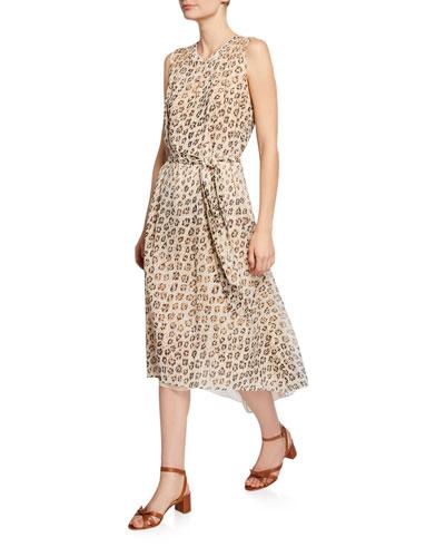 Corrin Leopard-Print Sleeveless High-Low Dress