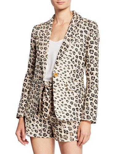 Anilah Leopard-Print One-Button Linen Blazer
