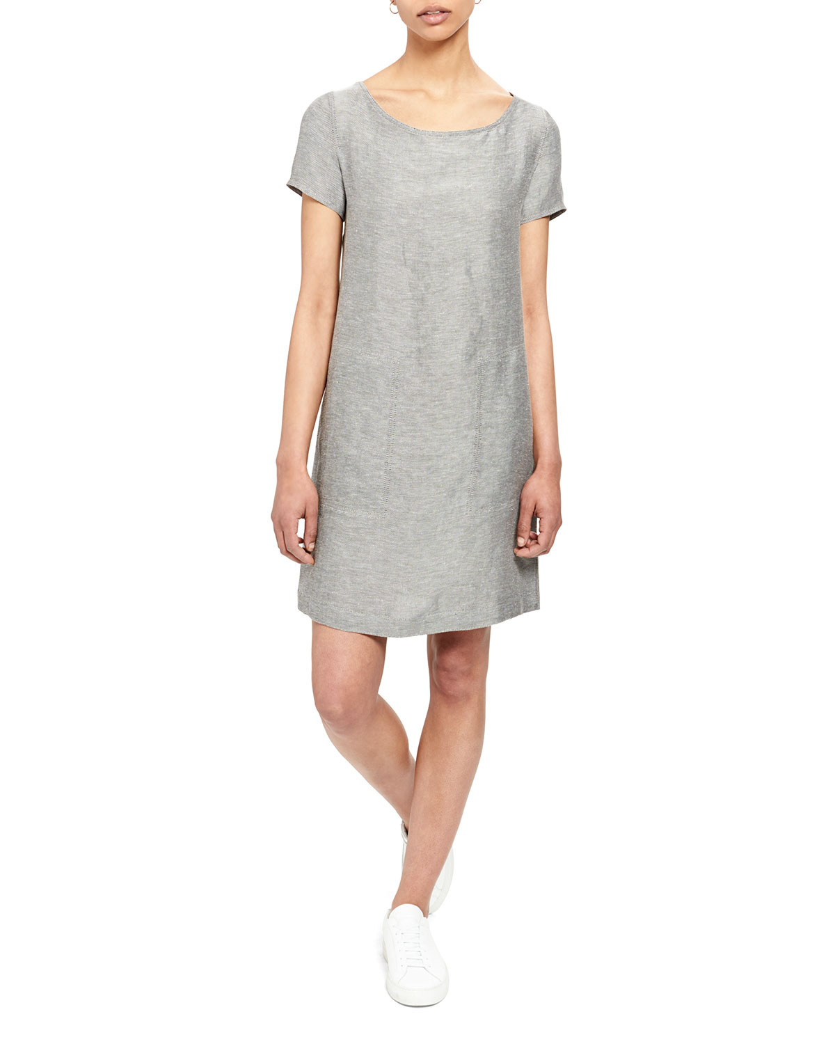 c9e7bc64099 Theory Structured Linen Shift Tee Dress In Black/White | ModeSens
