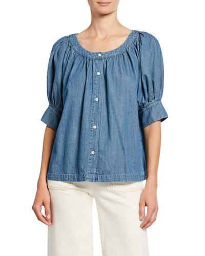 The Puff Sleeve Button-Up Denim Top