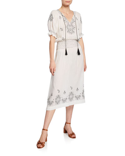 The Mercantile Embroidered Midi Dress