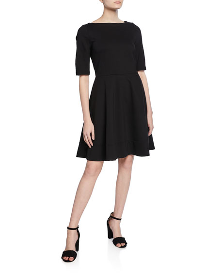 kate spade new york lace-up back elbow-sleeve ponte dress