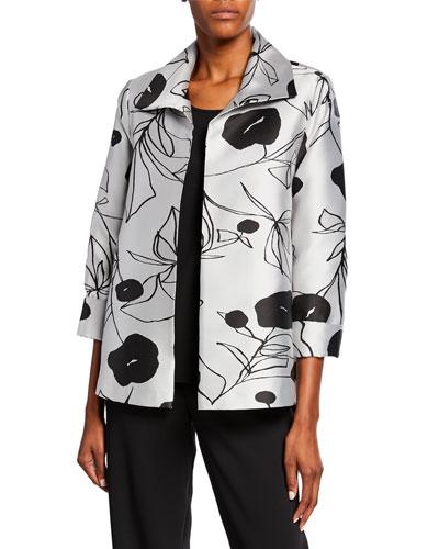 Plus Size Retro Chic Floral Jacquard A-Line Jacket