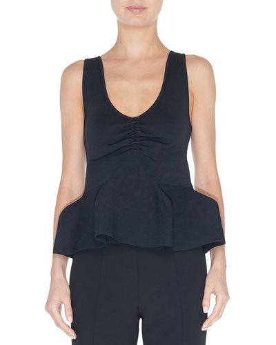 Tech Ribbed Sculpted Peplum Tank