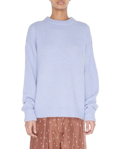 Crewneck Airy Alpaca Sweater with Arm Band Cuffs