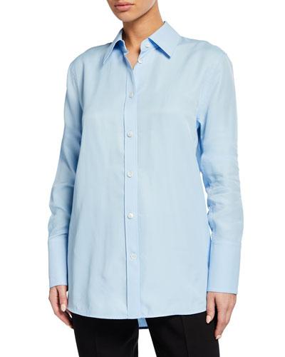 Button-Down Long-Sleeve Viscose Shirt