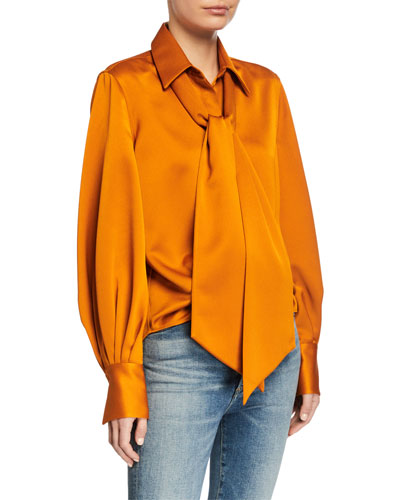 Didina Long-Sleeve Solid Blouse with Scarf