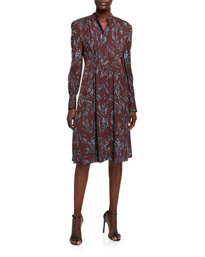Ouesse Button-Front Long-Sleeve Dress