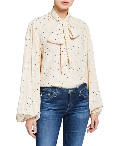 Cleone Dotted Tie-Neck Blouson-Sleeve Top