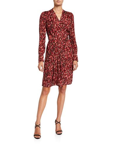 Jenesse Printed V-Neck Long-Sleeve Dress