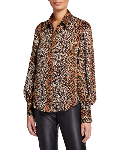 Didina Animal Bishop-Sleeve Button-Down Shirt