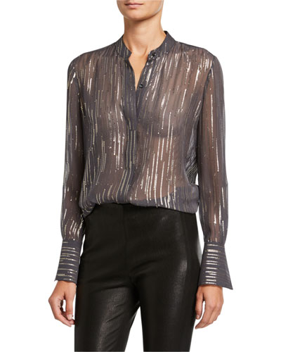 Jecinthe Metallic Embellished Button-Down Sheer Blouse