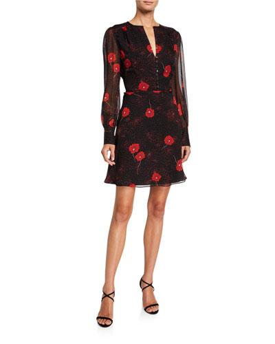 Danette Floral V-Neck Long-Sleeve Mini Silk Dress