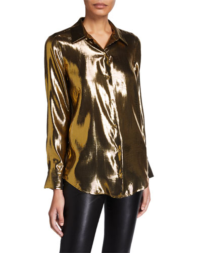 Burnel Metallic Button-Down Shirt