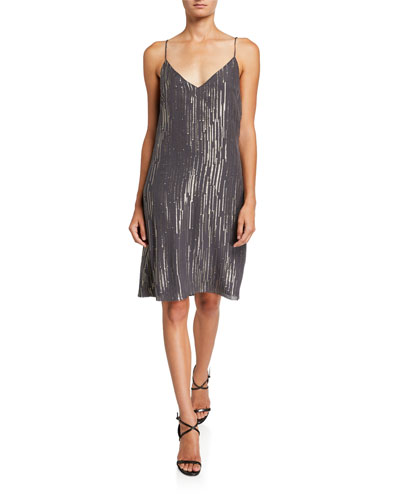 Tansie Metallic V-Neck Slip Dress