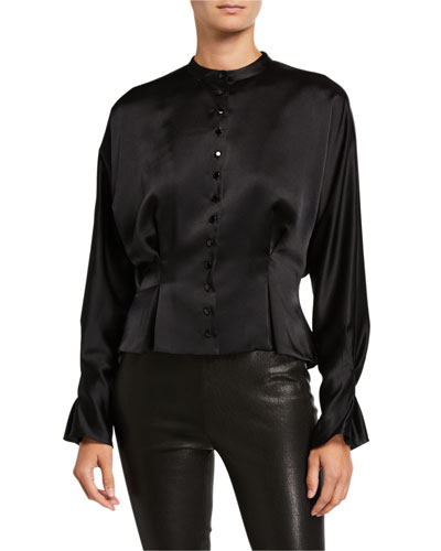 Pruitte Button-Front Long-Sleeve Satin Crop Top
