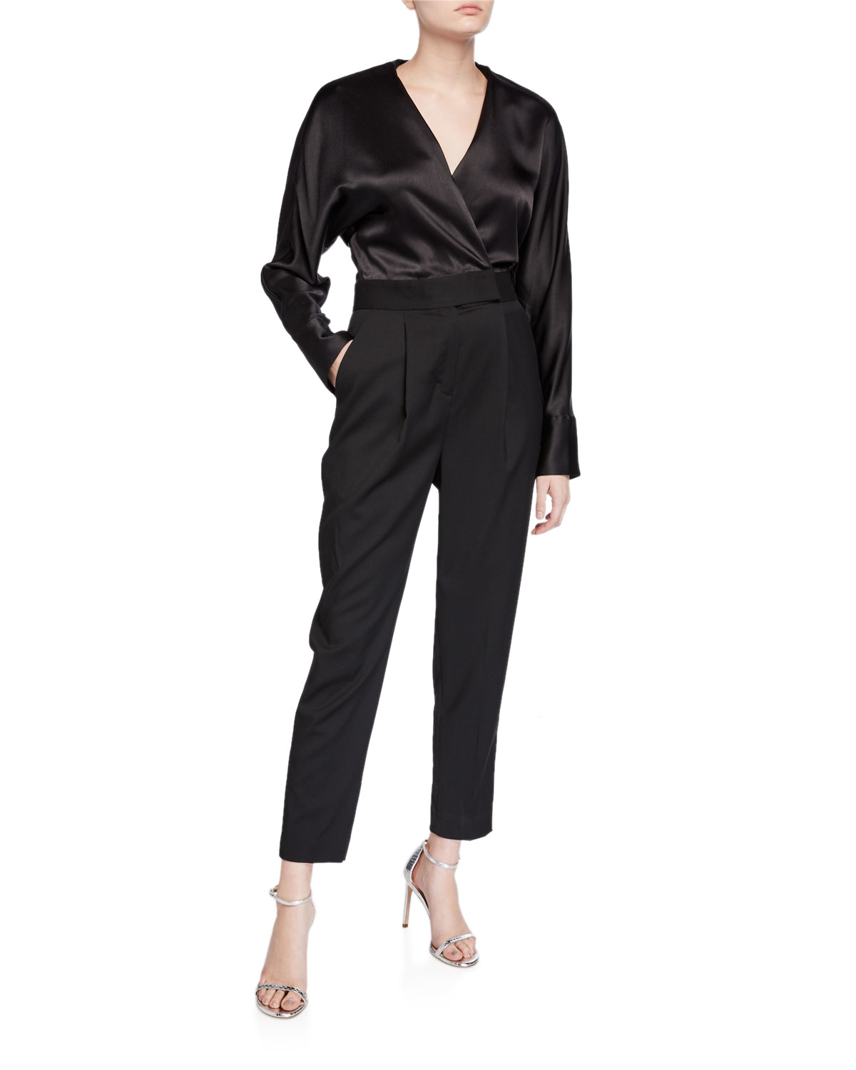 Equipment Suits CARLENS LONG-SLEEVE SATIN-BODICE WOOL JUMPSUIT