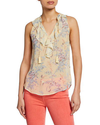 Alma Silk Ruffle Sleeveless Top