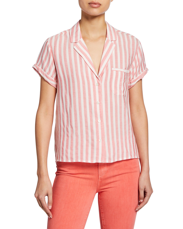 Paige T-shirts COLWYN STRIPED BUTTON-DOWN SHIRT