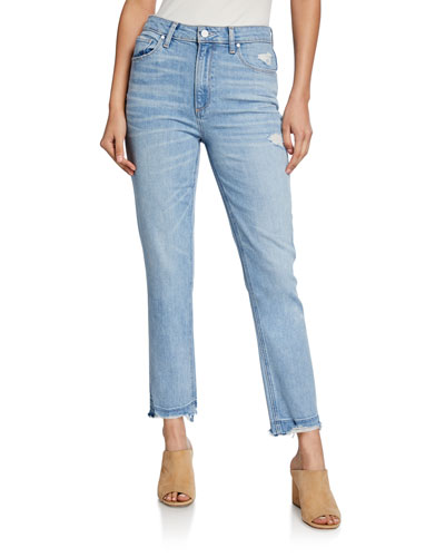 Sarah Slim High-Rise Jeans with Ripped Hem