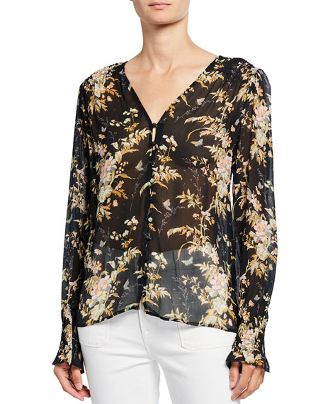 PAIGE Calliope Button-Front Silk Top