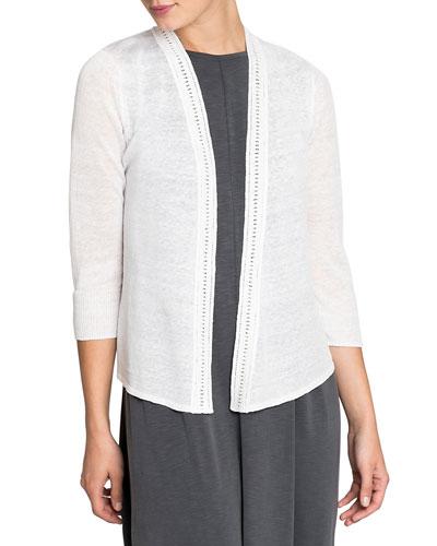 Plus Size Open-Front Crochet Trim 4-Way Cardigan