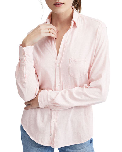 Button-Down Long-Sleeve Essential Jersey Cotton Shirt