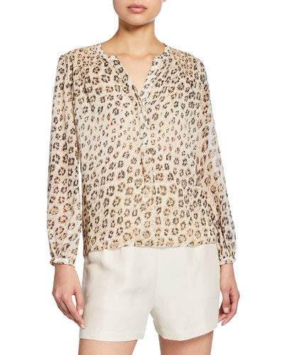 Cordell Leopard-Print V-Neck Long-Sleeve Silk Top