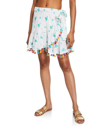 Lena Embroidered Tassel Wrap Skirt