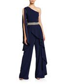 Alice + Olivia Venita One-Shoulder Draped Embellished Jumpsuit