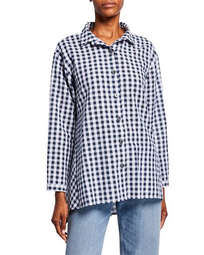 Plus Size Gingham Seersucker Button-Front Easy Shirt