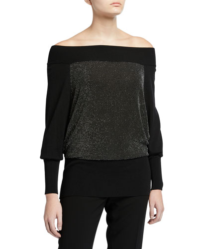 M Line Off-the-Shoulder Metallic Front Top