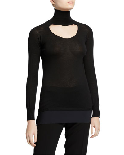 M Fay Turtleneck Long-Sleeve Cutout Top