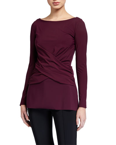 Cammy Boat-Neck Long-Sleeve Crossover Top