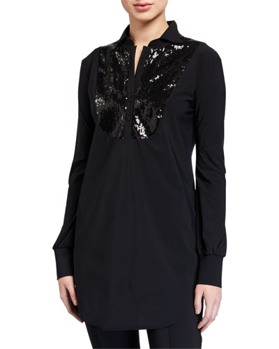 Maike Paillettes Long-Sleeve Sequin Bib Top