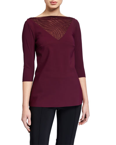 Goran High-Neck 3/4-Sleeve Illusion Top