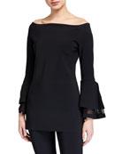 Chiara Boni La Petite Robe Alia Off-the-Shoulder Bell-Sleeve
