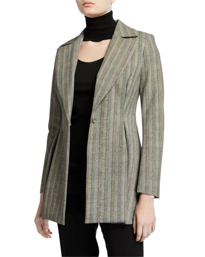 Michelle Striped One-Button Fit-&-Flare Jacket