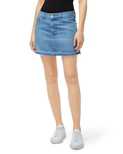 Bonny Mid-Rise Denim Mini Skirt w/ Released Hem