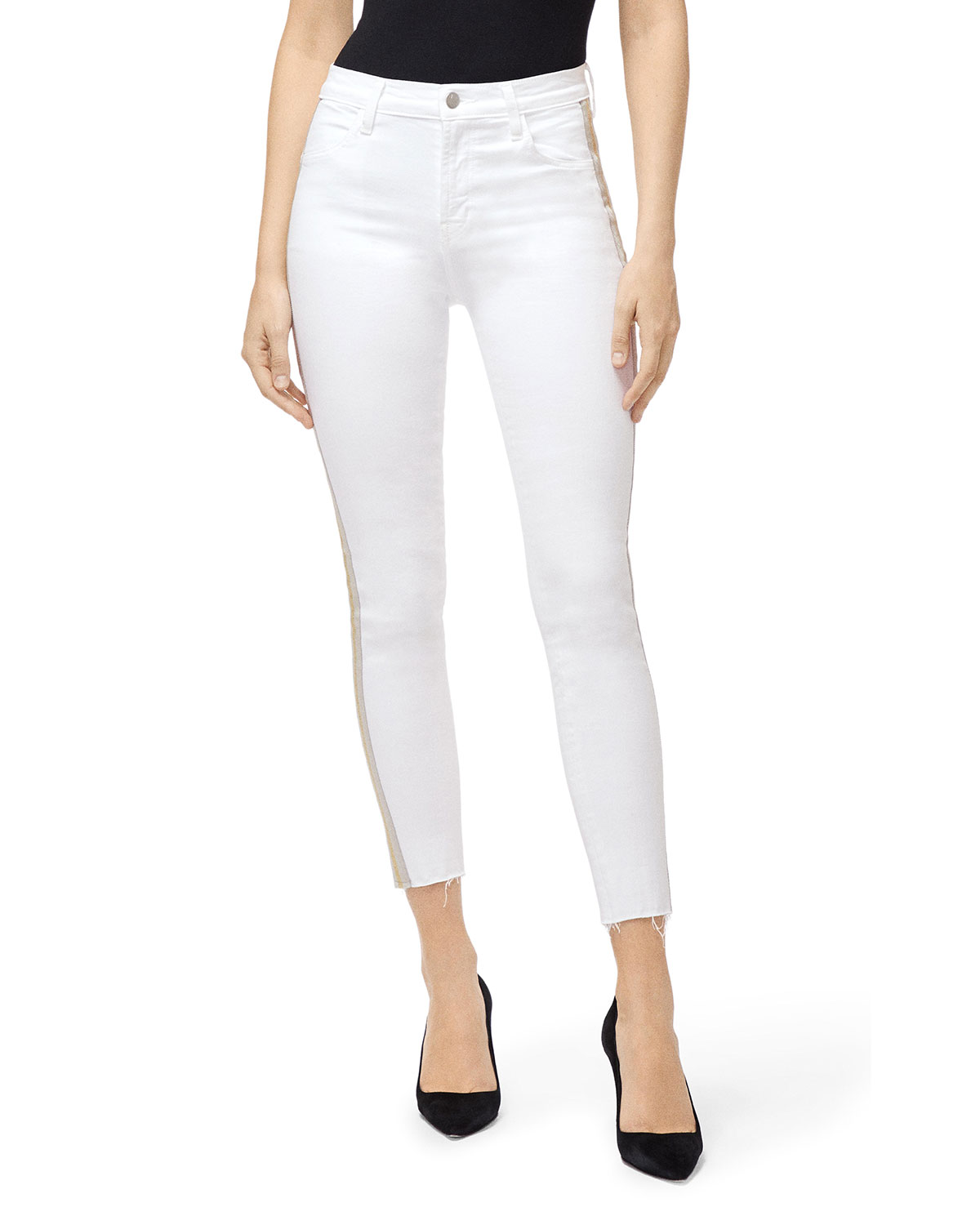 J Brand Jeans ALANA HIGH-RISE CROP SKINNY JEANS WITH SIDE STRIPES