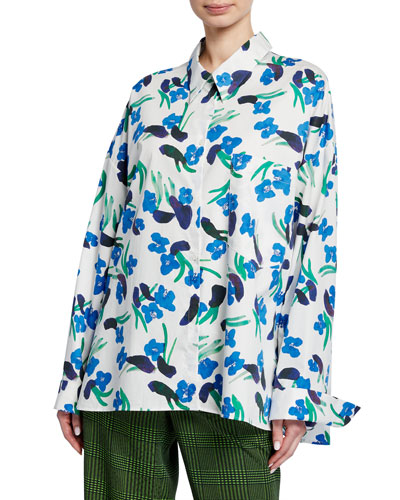 Tung Floral-Print Button-Down Blouse
